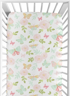 Blush Pink, Mint and White Watercolor Rose Baby or Toddler Fitted Crib Sheet for Butterfly Floral Collection by Sweet Jojo Designs