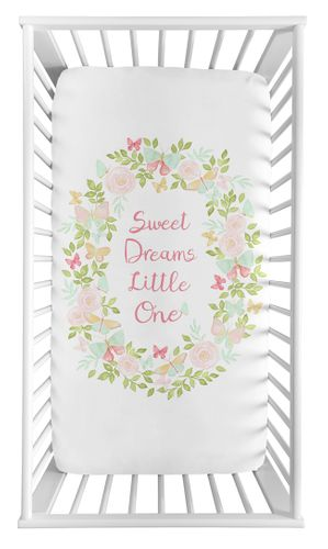Blush Pink, Mint and White Watercolor Rose Baby or Toddler Fitted Crib Sheet for Butterfly Floral Collection by Sweet Jojo Designs - Sweet Dreams Little One - Click to enlarge