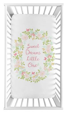 Blush Pink, Mint and White Watercolor Rose Baby or Toddler Fitted Crib Sheet for Butterfly Floral Collection by Sweet Jojo Designs - Sweet Dreams Little One