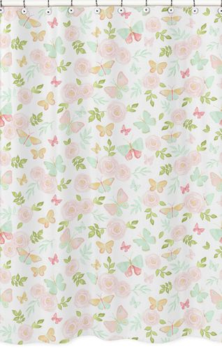 Blush Pink, Mint and White Watercolor Rose Bathroom Fabric Bath Shower Curtain for Butterfly Floral Collection by Sweet Jojo Designs - Click to enlarge