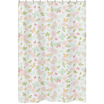 Blush Pink, Mint and White Watercolor Rose Bathroom Fabric Bath Shower Curtain for Butterfly Floral Collection by Sweet Jojo Designs