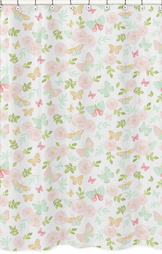 Blush Pink Mint And White Watercolor Rose Bathroom Fabric Bath Shower Curtain For Butterfly Floral