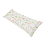 Blush Pink, Mint and White Watercolor Rose Body Pillow Case Cover for Butterfly Floral Collection by Sweet Jojo Designs (Pillow Not Included)