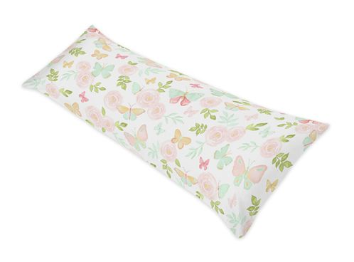 Blush Pink, Mint and White Watercolor Rose Body Pillow Case Cover for Butterfly Floral Collection by Sweet Jojo Designs (Pillow Not Included) - Click to enlarge