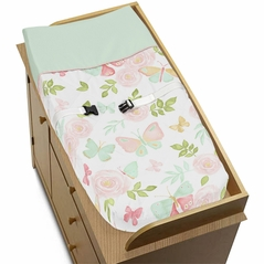 Blush Pink, Mint and White Watercolor Rose Changing Pad Cover for Butterfly Floral Collection by Sweet Jojo Designs