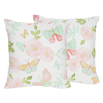 Blush Pink, Mint and White Watercolor Rose Decorative Accent Throw Pillows for Butterfly Floral Collection by Sweet Jojo Designs - Set of 2
