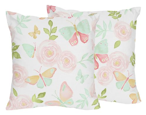 Blush Pink, Mint and White Watercolor Rose Decorative Accent Throw Pillows  for Butterfly Floral Collection by Sweet Jojo Designs Set of 2