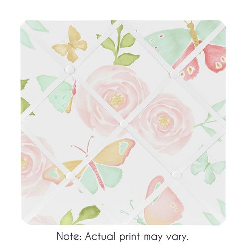 Blush Pink, Mint and White Watercolor Rose Fabric Memory Memo Photo Bulletin Board for Butterfly Floral Collection by Sweet Jojo Designs - Click to enlarge