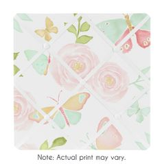 Blush Pink, Mint and White Watercolor Rose Fabric Memory Memo Photo Bulletin Board for Butterfly Floral Collection by Sweet Jojo Designs