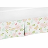 Blush Pink, Mint and White Watercolor Rose Girl Pleated Baby Crib Bed Skirt Dust Ruffle for Butterfly Floral Collection by Sweet Jojo Designs