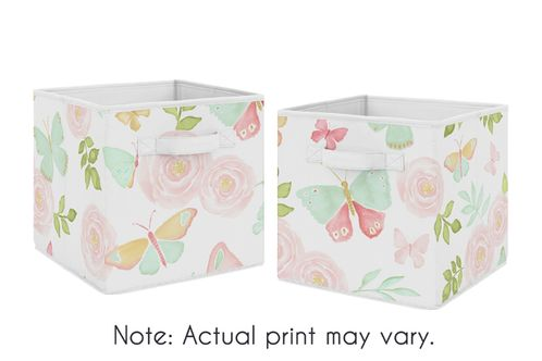 Blush Pink, Mint and White Watercolor Rose Organizer Storage Bins for Butterfly Floral Collection by Sweet Jojo Designs - Set of 2 - Click to enlarge