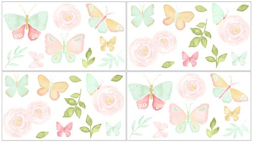 Blush Pink, Mint and White Watercolor Rose Peel and Stick Wall Decal Stickers Art Nursery Decor for Butterfly Floral Collection by Sweet Jojo Designs - Set of 4 Sheets - Click to enlarge