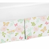 Blush Pink, Mint and White Watercolor Rose Pleated Queen Bed Skirt Dust Ruffle for Butterfly Floral Collection by Sweet Jojo Designs