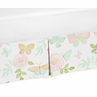 Blush Pink, Mint and White Watercolor Rose Pleated Toddler Bed Skirt Dust Ruffle for Butterfly Floral Collection by Sweet Jojo Designs