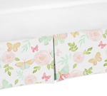 Blush Pink, Mint and White Watercolor Rose Pleated Twin Bed Skirt Dust Ruffle for Butterfly Floral Collection by Sweet Jojo Designs