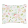 Blush Pink, Mint and White Watercolor Rose Standard Pillow Sham for Butterfly Floral Collection by Sweet Jojo Designs