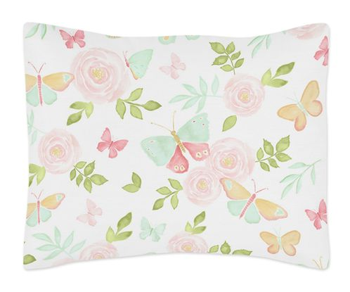 Blush Pink, Mint and White Watercolor Rose Standard Pillow Sham for Butterfly Floral Collection by Sweet Jojo Designs - Click to enlarge