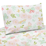 Blush Pink, Mint and White Watercolor Rose Twin Sheet Set for Butterfly Floral Collection by Sweet Jojo Designs - 3 piece set