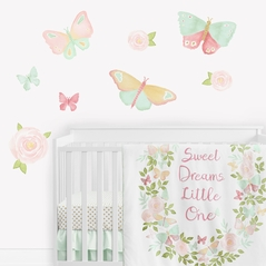 Butterfly Floral Rose Large Peel and Stick Wall Decal Stickers Art Nursery Decor Mural by Sweet Jojo Designs - Set of 4 Sheets - Blush Pink, Mint and White Shabby Chic Watercolor Boho Butterflies Garden