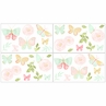 Blush Pink, Mint and White Watercolor Rose Wall Decal Stickers for Butterfly Floral Collection by Sweet Jojo Designs - Set of 4 Sheets