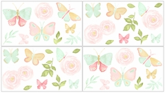 Blush Pink, Mint and White Watercolor Rose Peel and Stick Wall Decal Stickers Art Nursery Decor for Butterfly Floral Collection by Sweet Jojo Designs - Set of 4 Sheets