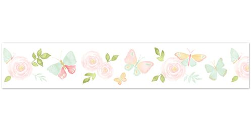 Blush Pink, Mint and White Watercolor Rose Wallpaper Wall Border for Butterfly Floral Collection by Sweet Jojo Designs - Click to enlarge