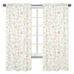Blush Pink, Mint and White Watercolor Rose Window Treatment Panels Curtains for Butterfly Floral Collection by Sweet Jojo Designs - Set of 2