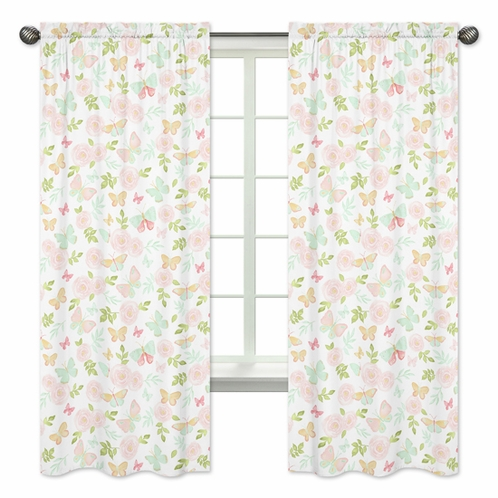 Blush Pink, Mint and White Watercolor Rose Window Treatment Panels Curtains for Butterfly Floral Collection by Sweet Jojo Designs - Set of 2 - Click to enlarge