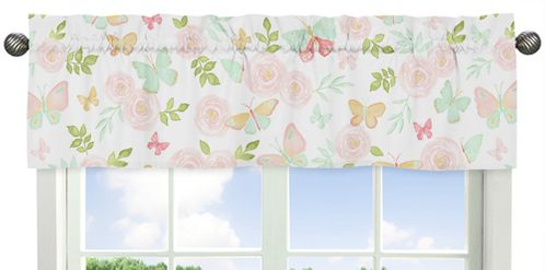 Blush Pink, Mint and White Watercolor Rose Window Treatment Valance for Butterfly Floral Collection by Sweet Jojo Designs - Click to enlarge