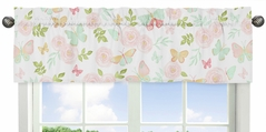 Blush Pink, Mint and White Watercolor Rose Window Treatment Valance for Butterfly Floral Collection by Sweet Jojo Designs