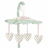 Blush Pink, Mint, Gold and White Watercolor Rose Musical Baby Crib Mobile for Butterfly Floral Collection by Sweet Jojo Designs