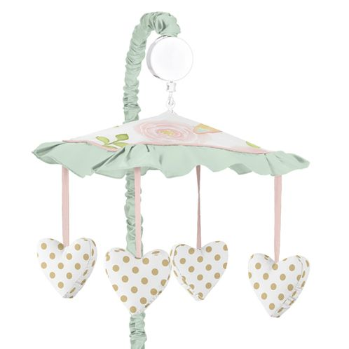Blush Pink, Mint, Gold and White Watercolor Rose Musical Baby Crib Mobile for Butterfly Floral Collection by Sweet Jojo Designs - Click to enlarge