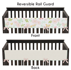 Blush Pink, Mint, Gold and White Watercolor Rose Polka Dot Long Front Crib Rail Guard Baby Teething Cover Protector Wrap for Butterfly Floral Collection by Sweet Jojo Designs