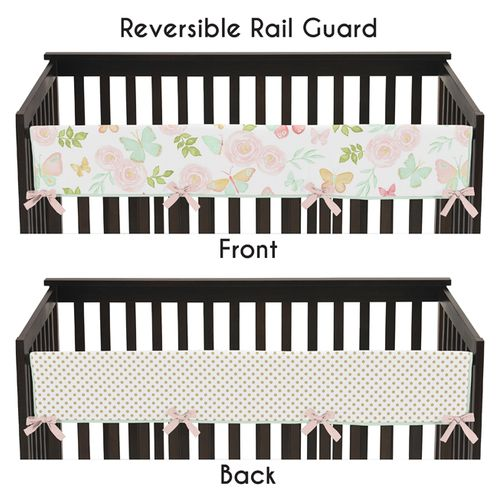 Blush Pink, Mint, Gold and White Watercolor Rose Polka Dot Long Front Crib Rail Guard Baby Teething Cover Protector Wrap for Butterfly Floral Collection by Sweet Jojo Designs - Click to enlarge