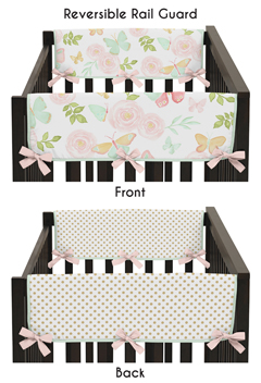 Blush Pink, Mint, Gold and White Watercolor Rose Polka Dot Side Crib Rail Guards Baby Teething Cover Protector Wrap for Butterfly Floral Collection by Sweet Jojo Designs - Set of 2