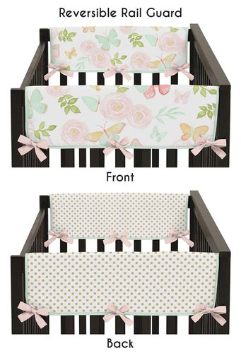 Blush Pink, Mint, Gold and White Watercolor Rose Polka Dot Side Crib Rail Guards Baby Teething Cover Protector Wrap for Butterfly Floral Collection by Sweet Jojo Designs - Set of 2 - Click to enlarge