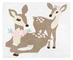 Blush Pink, Mint Green and White Boho Accent Floor Rug or Bath Mat for Woodland Deer Floral Collection by Sweet Jojo Designs