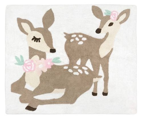 Blush Pink, Mint Green and White Boho Accent Floor Rug or Bath Mat for Woodland Deer Floral Collection by Sweet Jojo Designs - Click to enlarge