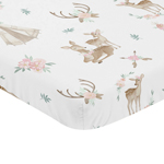 Blush Pink, Mint Green and White Boho Baby Fitted Mini Portable Crib Sheet for Woodland Deer Floral Collection by Sweet Jojo Designs