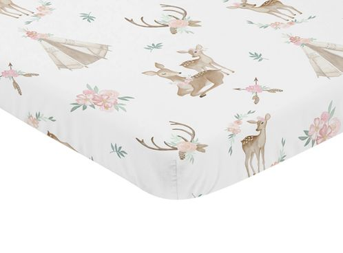 Blush Pink, Mint Green and White Boho Baby Fitted Mini Portable Crib Sheet for Woodland Deer Floral Collection by Sweet Jojo Designs - Click to enlarge