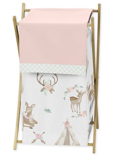 Blush Pink, Mint Green and White Boho Baby Kid Clothes Laundry Hamper for Woodland Deer Floral Collection by Sweet Jojo Designs - Click to enlarge