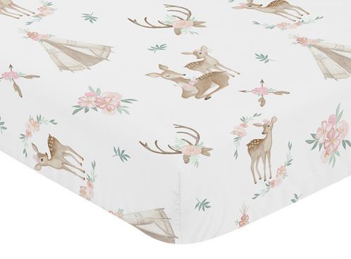 Blush Pink, Mint Green and White Boho Baby or Toddler Fitted Crib Sheet for Woodland Deer Floral Collection by Sweet Jojo Designs - Click to enlarge