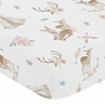 Blush Pink, Mint Green and White Boho Baby or Toddler Fitted Crib Sheet for Woodland Deer Floral Collection by Sweet Jojo Designs