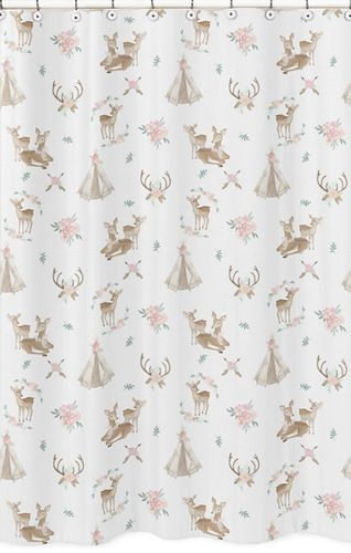 Blush Pink, Mint Green and White Boho Bathroom Fabric Bath Shower Curtain for Woodland Deer Floral Collection by Sweet Jojo Designs - Click to enlarge