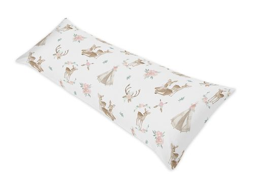 Blush Pink, Mint Green and White Boho Body Pillow Case Cover for Woodland Deer Floral Collection by Sweet Jojo Designs (Pillow Not Included) - Click to enlarge