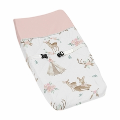 Blush Pink, Mint Green and White Boho Changing Pad Cover for Woodland Deer Floral Collection by Sweet Jojo Designs