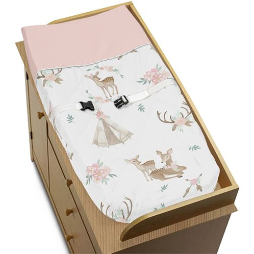 Blush Pink, Mint Green and White Boho Changing Pad Cover for Woodland Deer Floral Collection by Sweet Jojo Designs - Click to enlarge