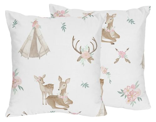 Blush Pink, Mint Green and White Boho Decorative Accent Throw Pillows for Woodland Deer Floral Collection by Sweet Jojo Designs - Set of 2 - Click to enlarge