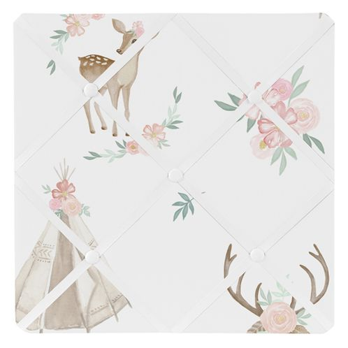 Blush Pink, Mint Green and White Boho Fabric Memory Memo Photo Bulletin Board for Woodland Deer Floral Collection by Sweet Jojo Designs - Click to enlarge
