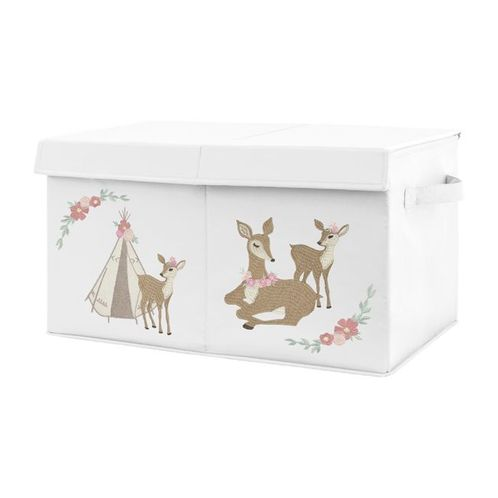 Blush Pink, Mint Green and White Boho Girl Baby Nursery or Kids Room Small Fabric Toy Bin Storage Box Chest for Woodland Deer Floral Collection by Sweet Jojo Designs - Click to enlarge